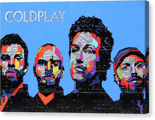 Coldplay Canvas Print - Coldplay Band Portrait Recycled License Plates Art On Blue Wood by Design Turnpike