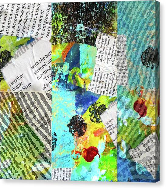 Torn Paper Collage Canvas Print - Collage No 11 by Nancy Merkle