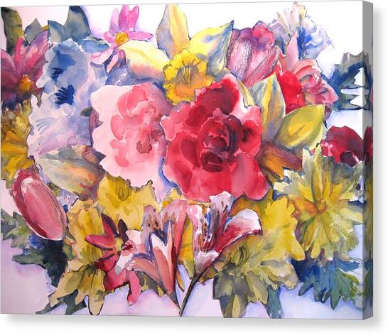 Collage Of Flowers Canvas Print by Joyce Kanyuk
