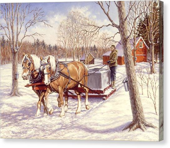 Draft Horses Canvas Print - Collecting The Sap by Richard De Wolfe