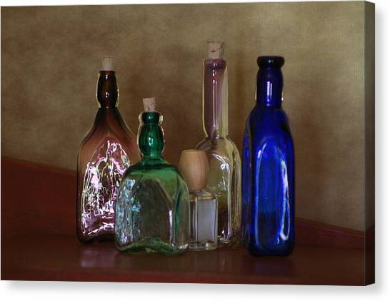 Collection Of Vintage Bottles Photograph Canvas Print