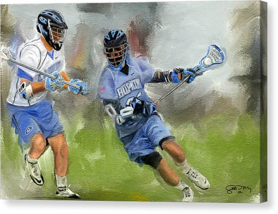 Johns Hopkins Canvas Print - College Lacrosse Attack by Scott Melby