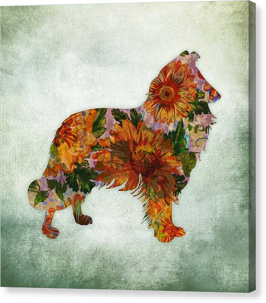 Border Collies Canvas Print - Collie Floral On Green by Flo Karp
