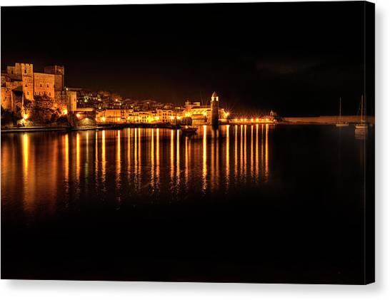 Collioure At Night Canvas Print
