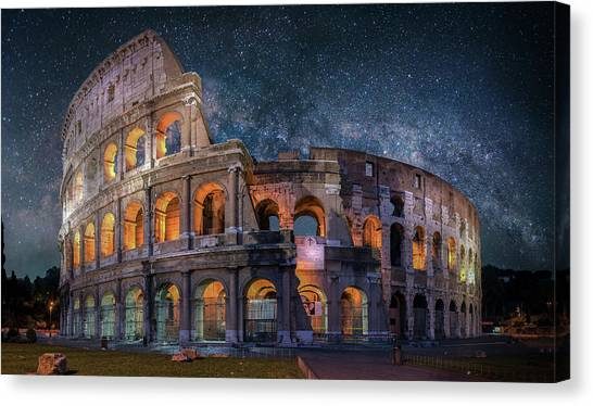 Colloseum Under The Stars Canvas Print by Brent Shavnore