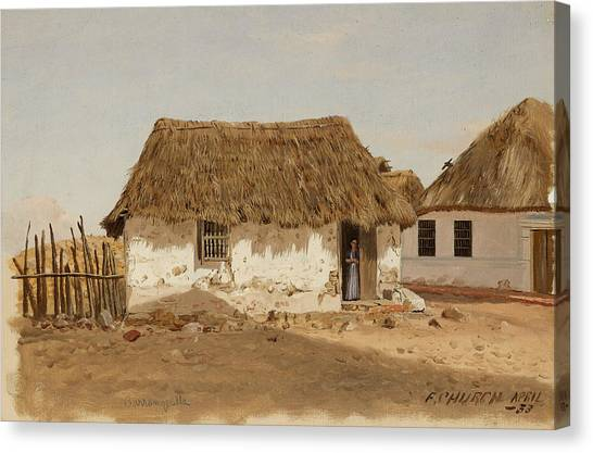Colombian Canvas Print - Colombia Barranquilla Two Houses  by Frederic Edwin Church