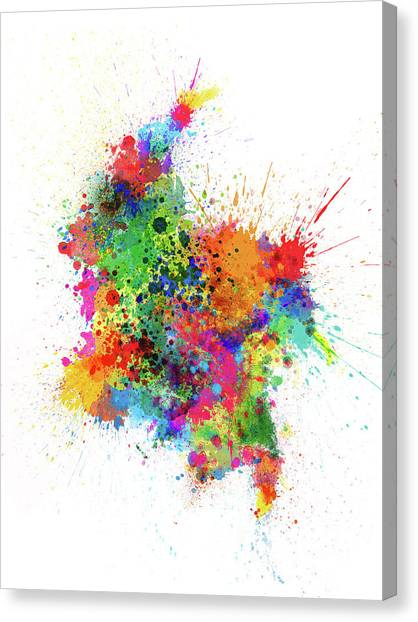South American Canvas Print - Colombia Paint Splashes Map by Michael Tompsett