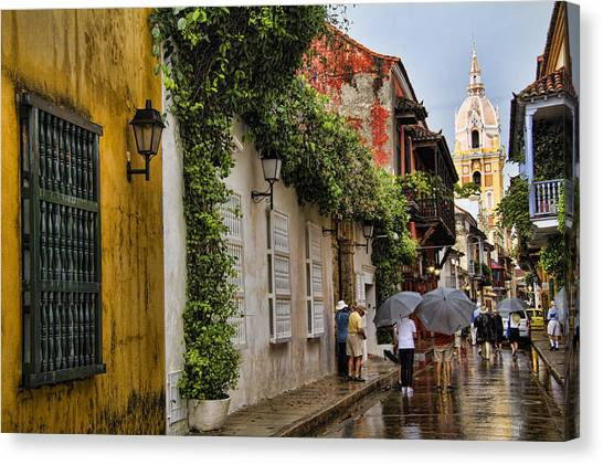 Colombian Canvas Print - Colonial Buildings In Old Cartagena Colombia by David Smith