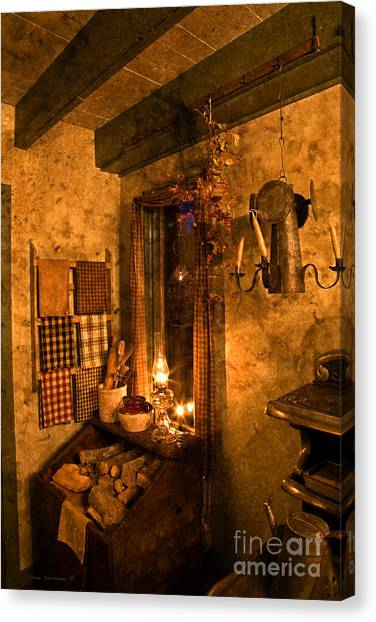 Crock Canvas Print - Colonial Kitchen Evening by John Stephens