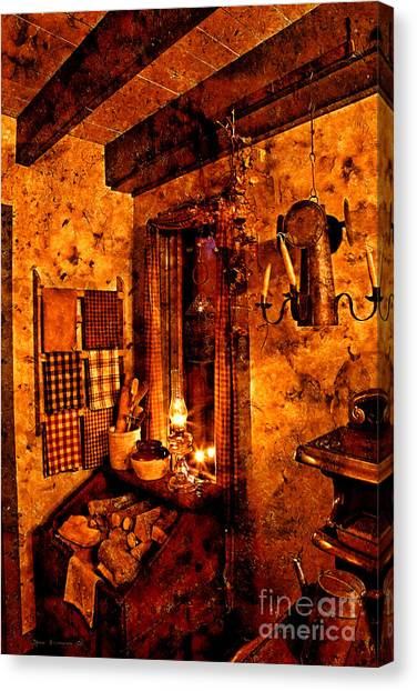 Crock Canvas Print - Colonial Kitchen Evening Warmth by John Stephens