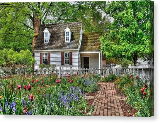 Brick House Canvas Print - Colonial Williamsburg Flower Garden by Todd Hostetter