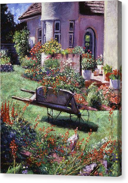 Wheelbarrow Canvas Print - Color Garden  by David Lloyd Glover