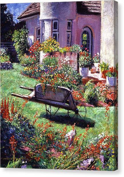 Wheelbarrow Canvas Print - Color Garden Impression by David Lloyd Glover