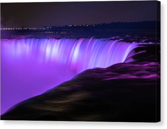 Lightshow Canvas Print - Color On Horseshoe Falls #3 by Michael Blanchette