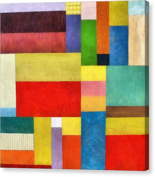 Color Panel Abstract With White Buttons Canvas Print