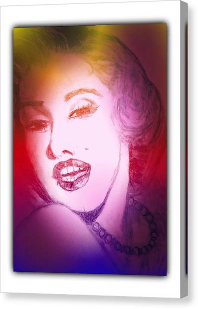Color Rendition Of Marilyn Monroe #2 Canvas Print