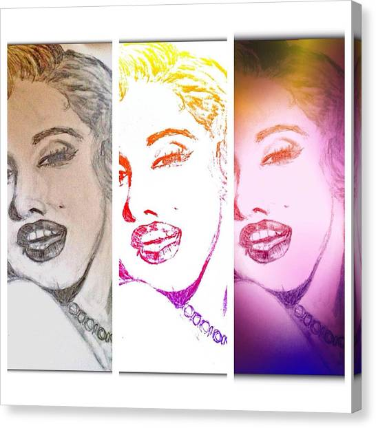 Color Rendition Of Marilyn Monroe #3 Canvas Print