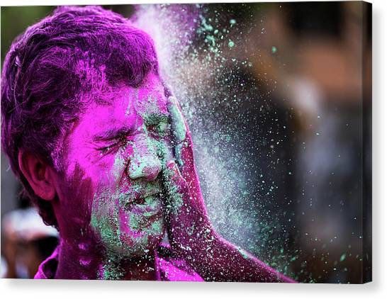 Color Splash During Holi Festival, India Canvas Print