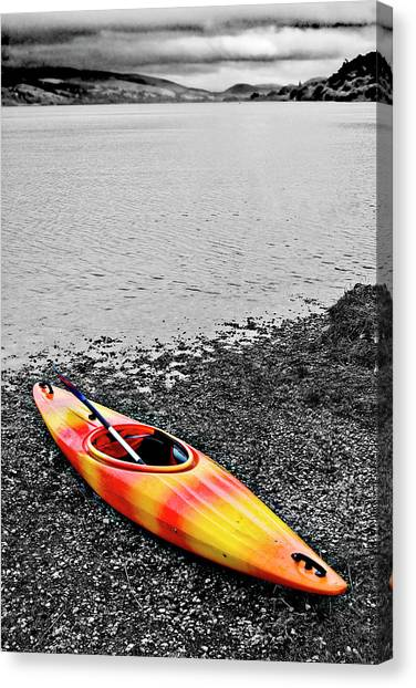 Kayaks Canvas Print - Color Splash by Meirion Matthias