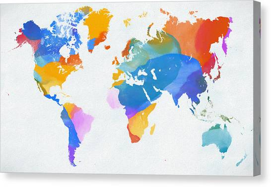 Geography of iceland canvas prints fine art america geography of iceland canvas print color splash world map by dan sproul gumiabroncs Choice Image