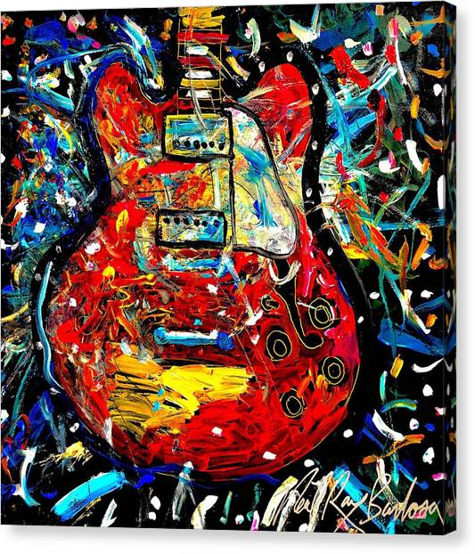 Color Wheel Guitar Canvas Print