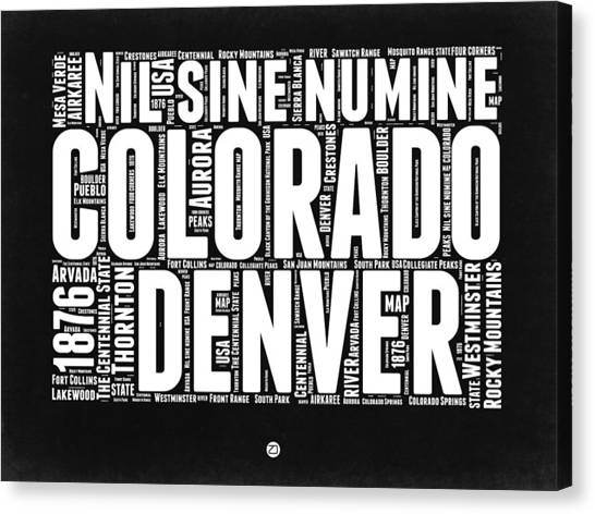 Connecticut Canvas Print - Colorado Black And White Word Cloud Map by Naxart Studio