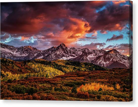 Mountain Ranges Canvas Print - Colorado Color by Andrew Soundarajan