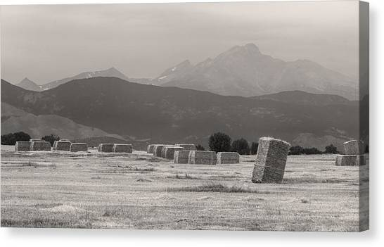 Rocky Mountain Canvas Print - Colorado Farming Panorama View In Black And White Pt 1 by James BO  Insogna