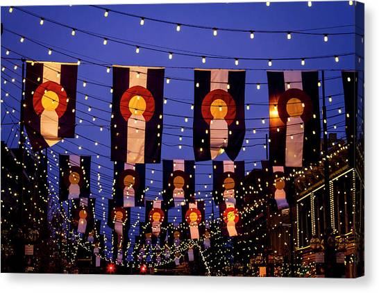 Colorado Flags On Larimer Square Denver Canvas Print