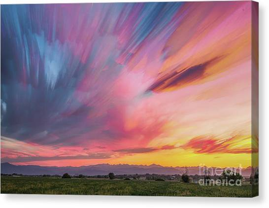 Colorado Front Range Crazy Sunset Timed Stack Canvas Print by James BO Insogna