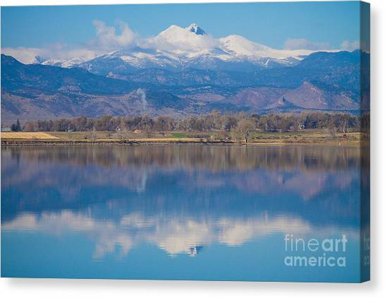 Colorado Longs Peak Circling Clouds Reflection Canvas Print