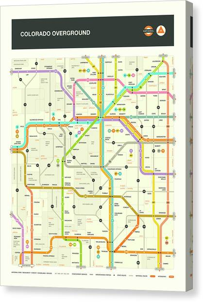 Highways Canvas Print - Colorado Map by Jazzberry Blue