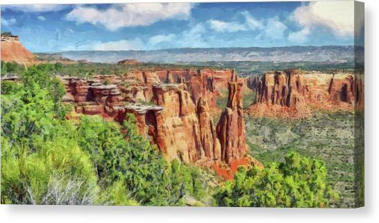 Canvas Print featuring the digital art Colorado National Monument 1 by Digital Photographic Arts