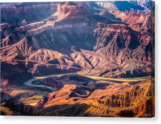 Canvas Print featuring the photograph Colorado River Winding Thru Grand Canyon by Claudia Abbott
