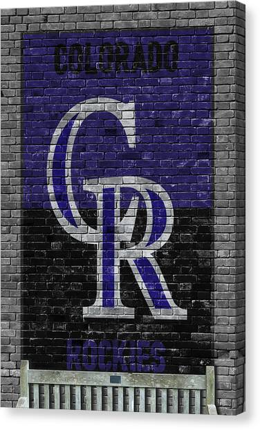 Colorado Rockies Canvas Print - Colorado Rockies Brick Wall by Joe Hamilton