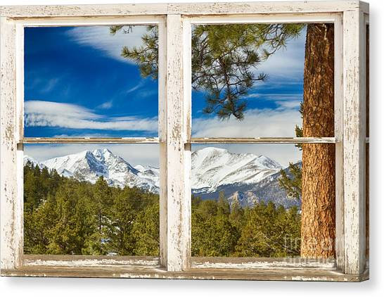 Colorado Rocky Mountain Rustic Window View Canvas Print