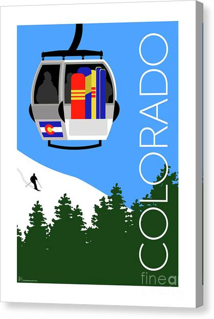 Colorado Ski Country Blue Canvas Print