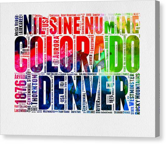 Denver Canvas Print - Colorado Watercolor Word Cloud Map  by Naxart Studio