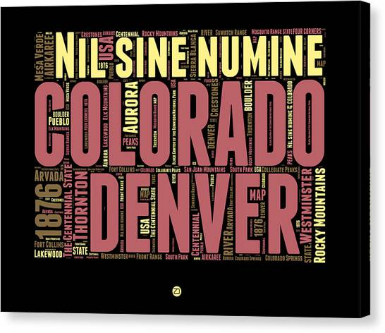 Connecticut Canvas Print - Colorado Word Cloud Map 1 by Naxart Studio
