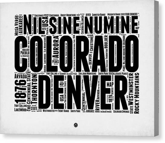Connecticut Canvas Print - Colorado Word Cloud Map 2 by Naxart Studio