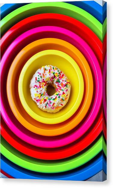 Doughnuts Canvas Print - Colored Bowls And Donut by Garry Gay