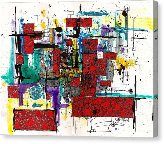 Canvas Print featuring the drawing Colored Chaos by Teddy Campagna