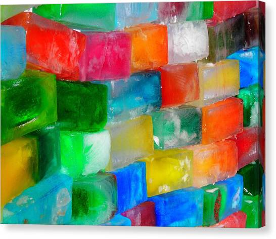 Colored Ice Bricks Canvas Print