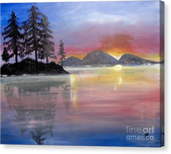 Canvas Print featuring the painting Colored Lake by Saundra Johnson