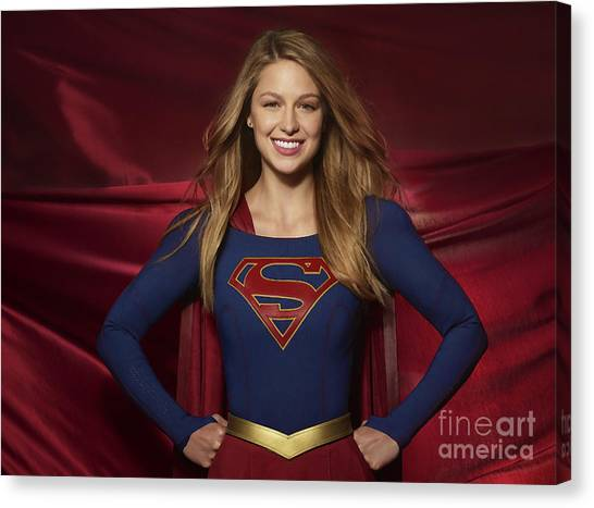 Colored Pencil Study Of Supergirl - Melissa Benoist Canvas Print