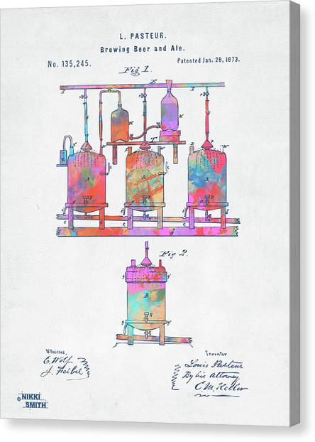 Brewery Canvas Print - Colorful 1873 Brewing Beer And Ale Patent Artwork by Nikki Marie Smith