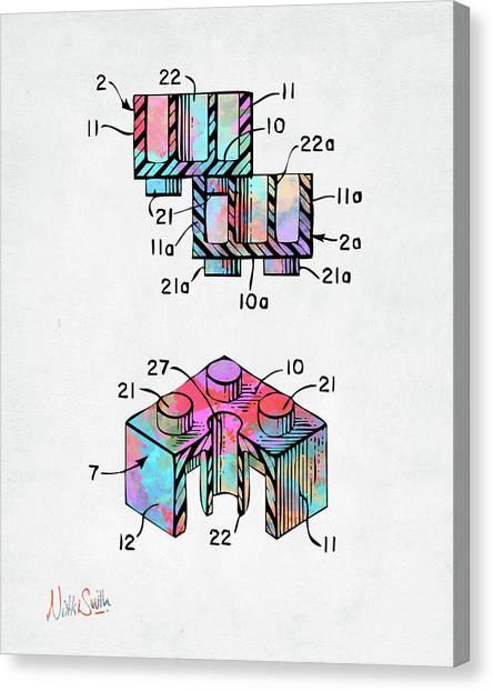 Bricks Canvas Print - Colorful 1961 Lego Brick Patent Minimal by Nikki Marie Smith