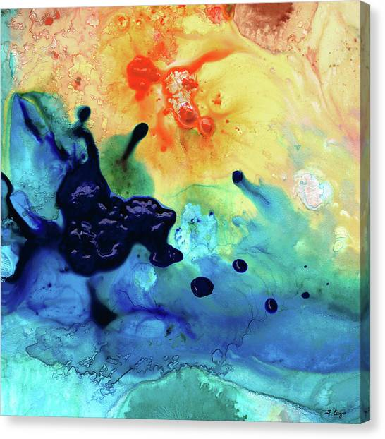 Splashy Canvas Print - Colorful Abstract Art - Blue Waters - Sharon Cummings by Sharon Cummings