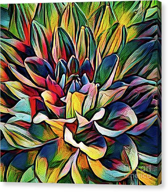 Colorful Abstract Dahlia Canvas Print