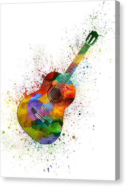 Acoustic Guitars Canvas Print - Colorful Acoustic Guitar 02 by Aged Pixel